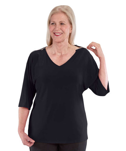 *MarlieT* Damen Shirt Top mit Schulter Zipper Top S - 3XL