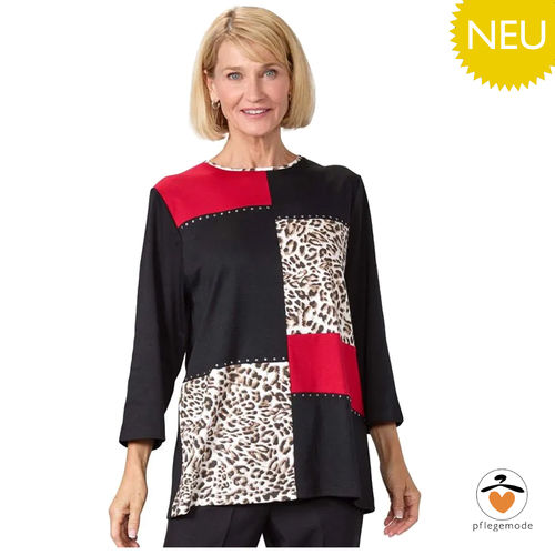 *TiaraT* stylisches Damen Shirt Pflege Top Patchwork S - 3XL