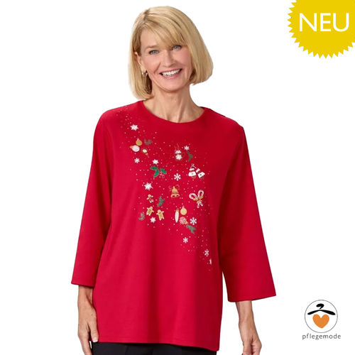 *ChristmasT* saisonales Winter Damen Pflege Shirt - barrierefei S - 3XL