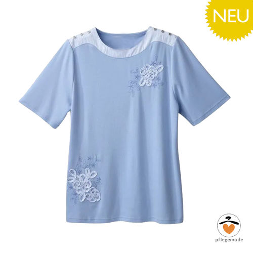 *LuciaT* adaptives Damen Pflege Shirt mit hübschen Applikationen