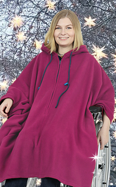 *RollyT* Fleece Rollstuhl Poncho • One Size - Indoor Outdoor •  Farbe: Navy, Granat, Berry, Skyblue