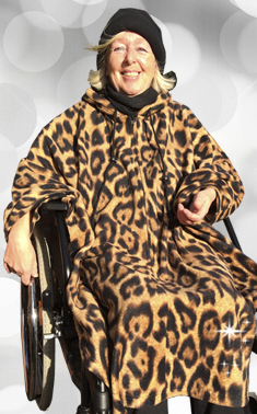 *RollyT* - Leo Rollstuhl Fleece Poncho • One Size - Indoor Outdoor •  Farbe: Animal Print